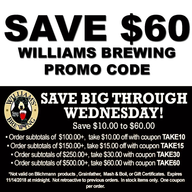 WilliamsBrewing.com Promo Code