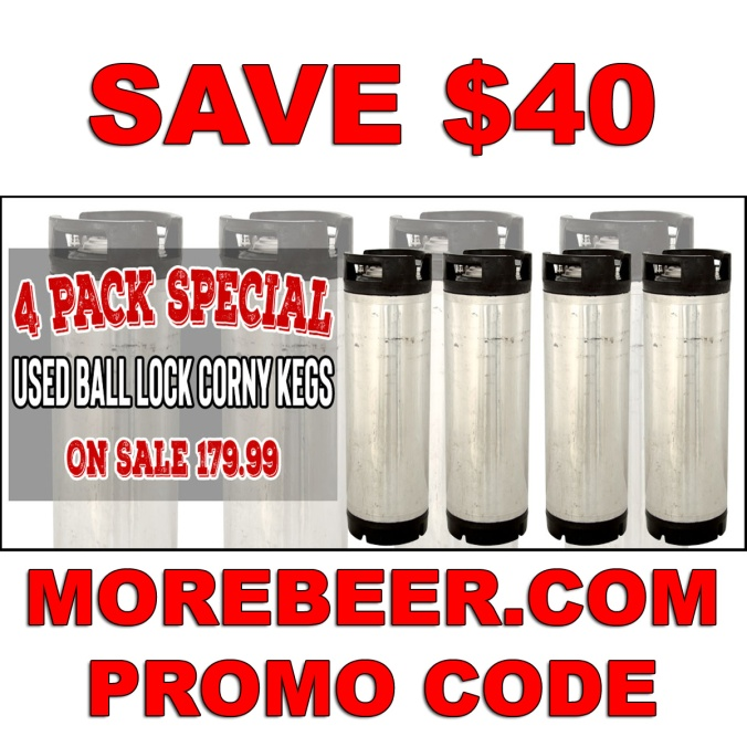 Save $40 On A 4 Pack of Ball Lock Home Brewing Kegs
