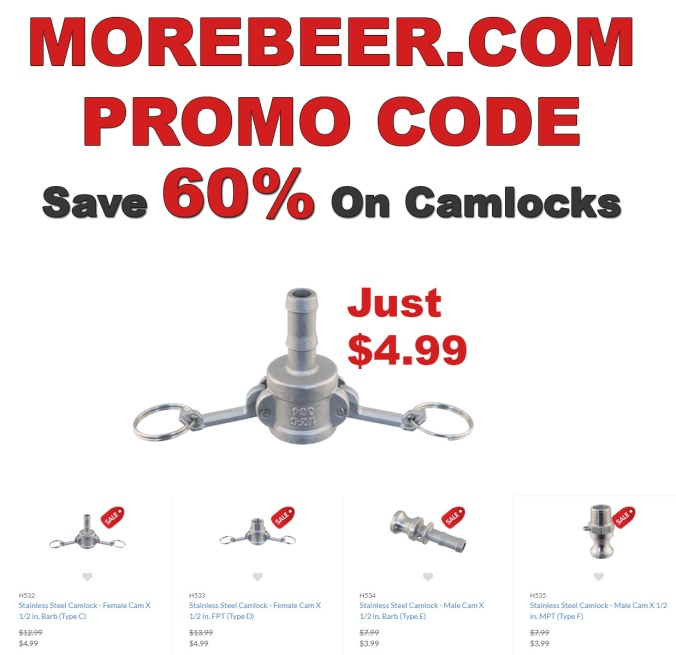 MoreBeer.com Promo Code for 60%+ Off Stainless Homebrew Camlocks