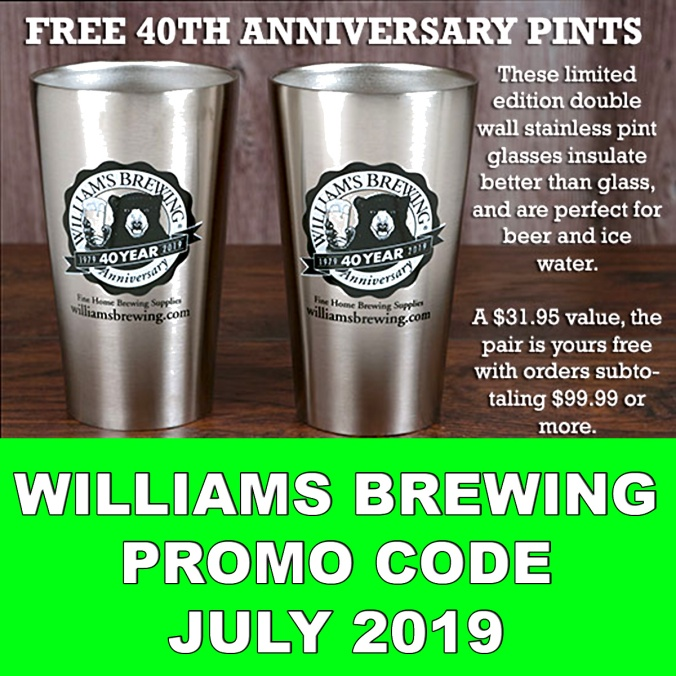 WilliamsBrewing.Com Coupon Code For 2 Free Stainless Pint Glasses