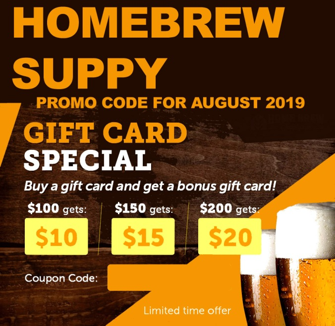 Free Gift Card at Homebrewsupply.com Promo Code for August 2019