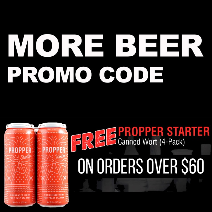 Use this More Beer Promo Code for Four Free Cans of Propper Canned Wort Yeast Starter