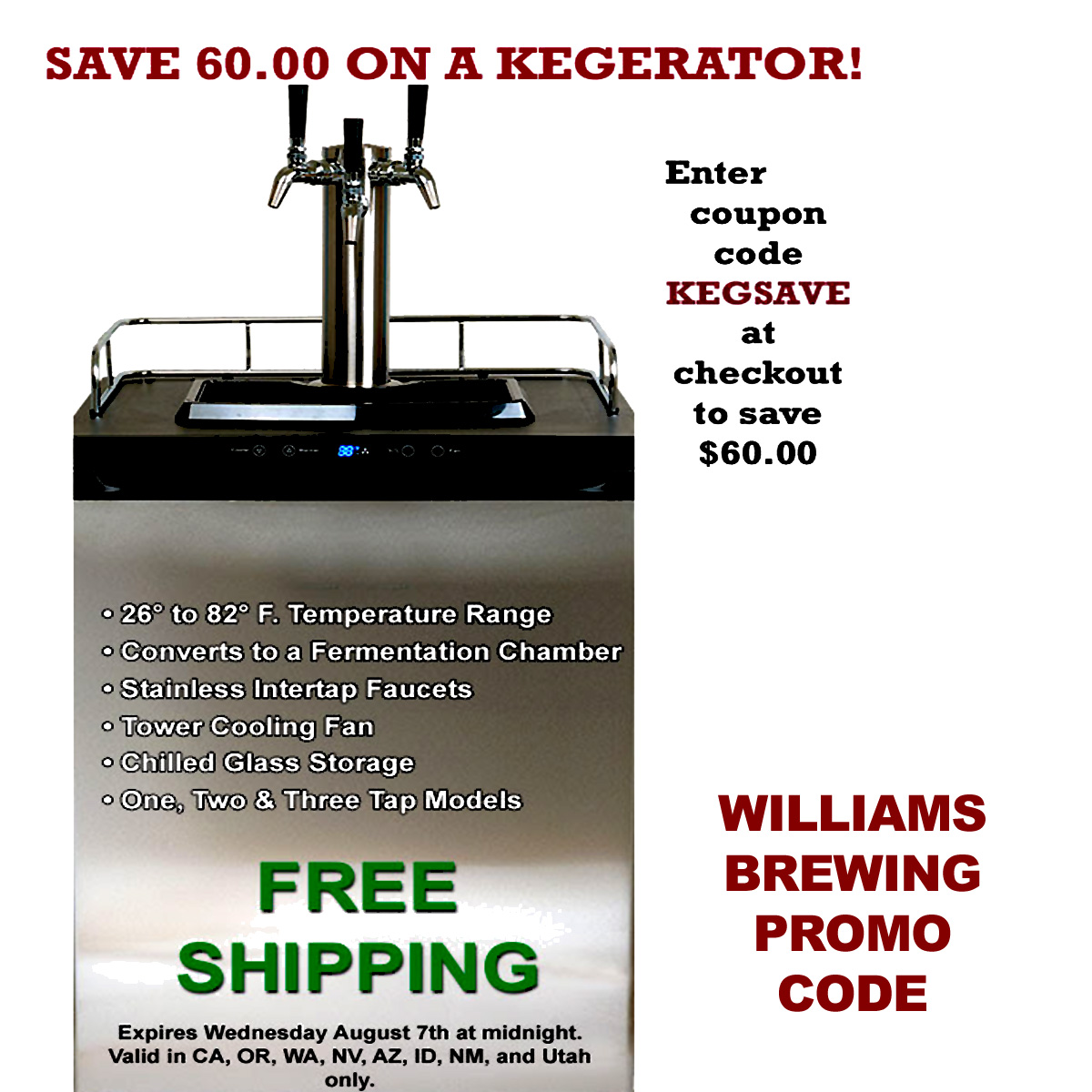 Williams Brewing Promo Code for $60 Off a Kegerator and FREE SHIPPING