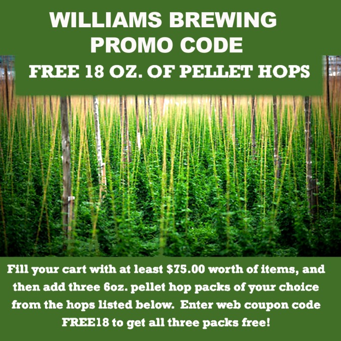 Spend $75 and Get Free Hops with this Williamsbrewing.com Coupon