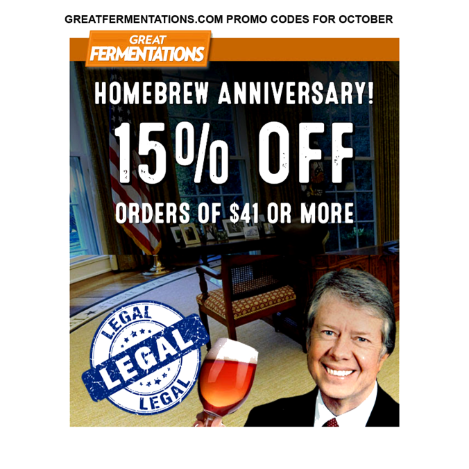 New Promo Code for Great Fermentations. Save 15% at GreatFermentations.com with this October 2019 Promo Code