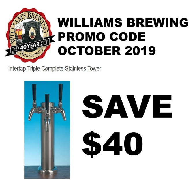 Save $40 On A Stainless Steel 3 Tap Draft Beer Tower with this Williams Brewing Coupon Code