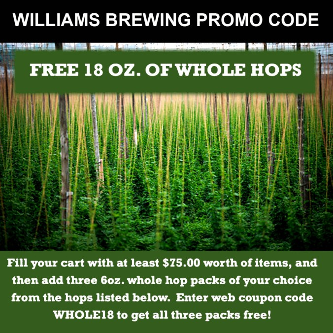 Get 10 Ounces of Free Home Brewing Hops with this Williams Brewing Coupon Code