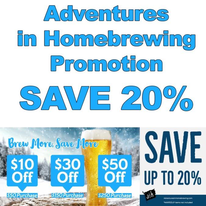Save 20% at Adventures in Homebrewing - November 2019