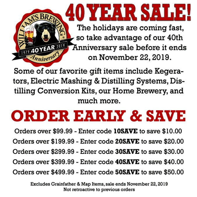 Save Up To $50 on your Williams Brewing purchase this November with this WilliamsBrewing.com Promo Code