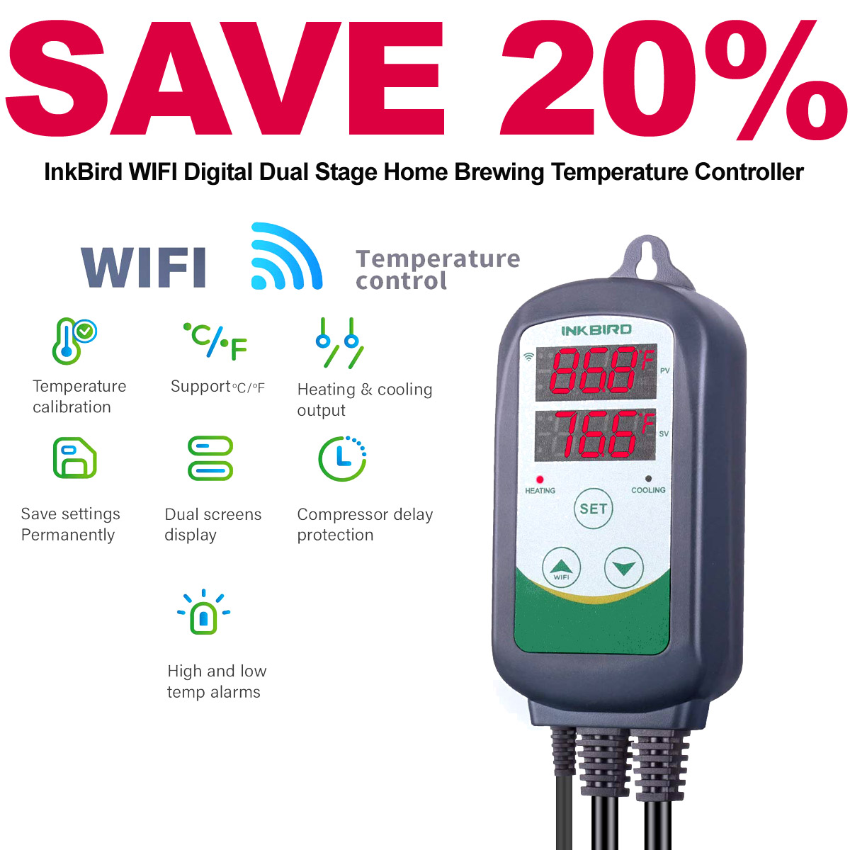 Save 20% On a NEW Ink Bird Wifi Dual Stage Home Brewing Temperature Controller
