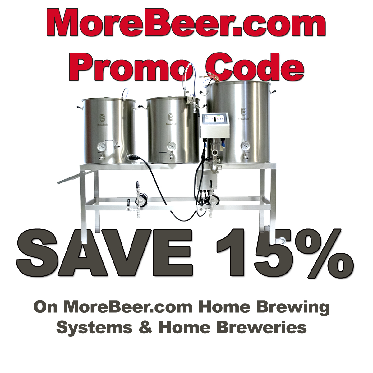 MoreBeer.com Coupon Code for 15% Off Home Brewing Systems