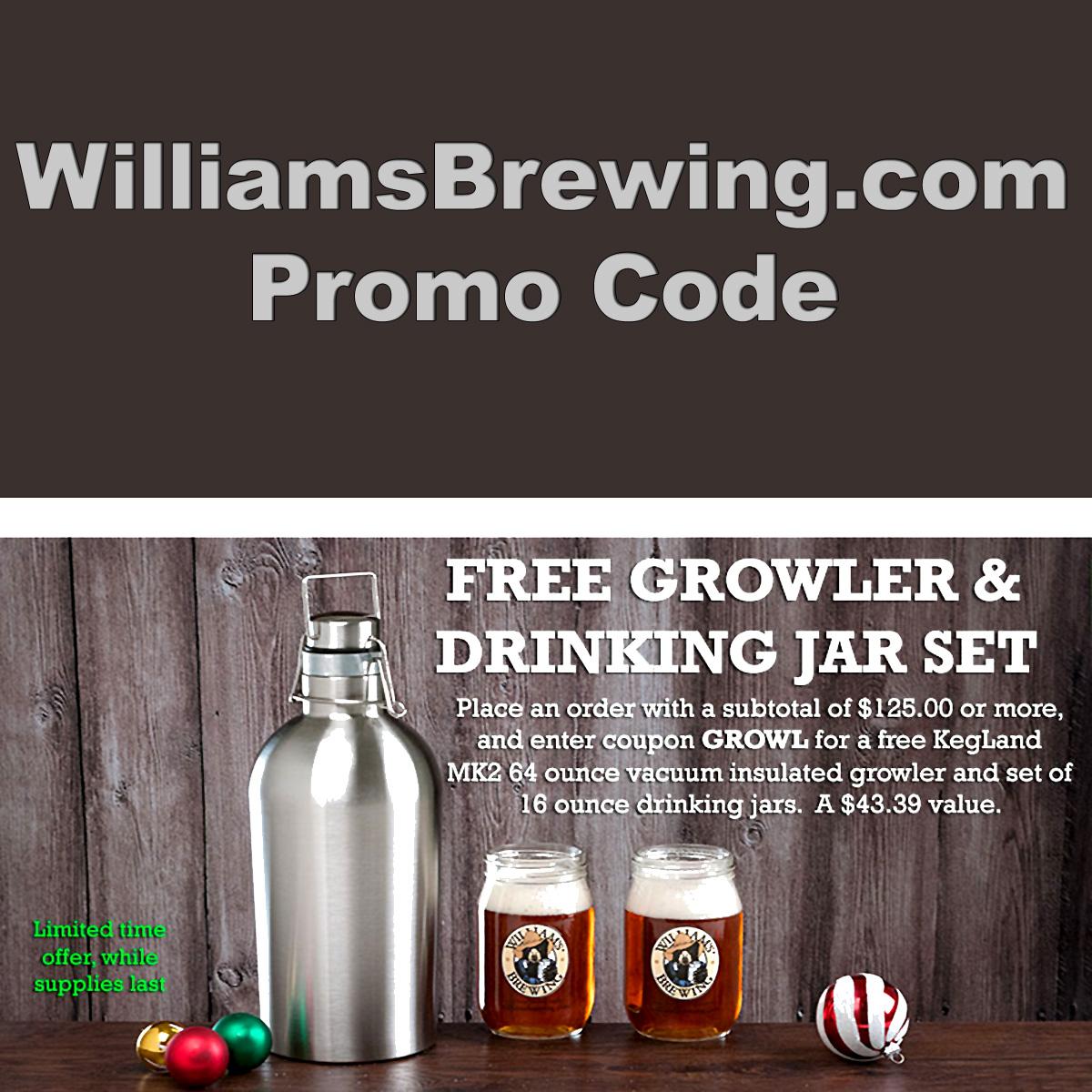 WilliamsBrewing.com Promo Code for a FREE Growler
