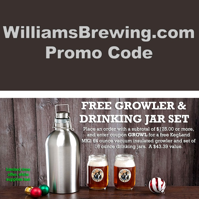 WilliamsBrewing.com Promo Code for a FREE Growler
