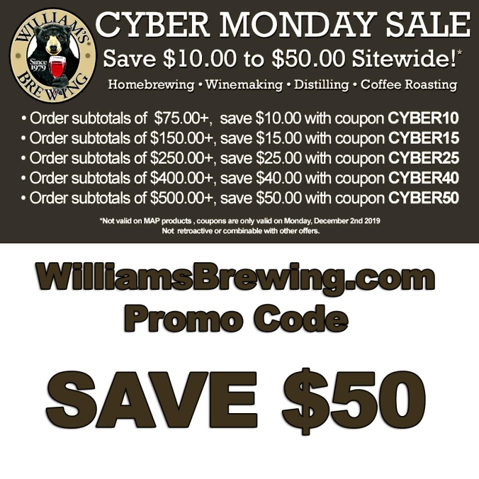 Williams Brewing Promo Code for Cyber Monday 2019