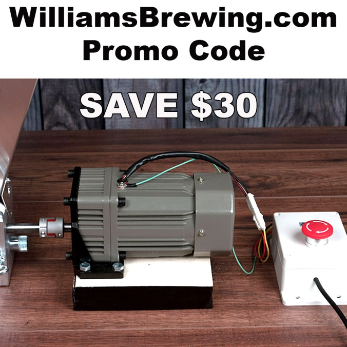 Use this WilliamsBrewing.com promo code and save $30 on a grain mill motorizing kit