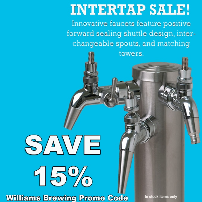 WilliamsBrewing.com Promo Code for 15% Off Intertap Stainless Steel Beer Faucets