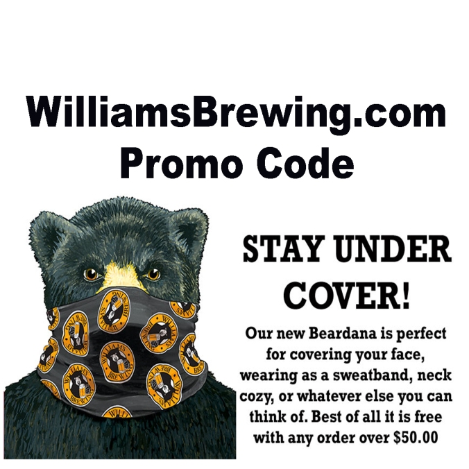 Get a FREE Covid-19 Mask at Williams Brewing With This WilliamsBrewing.com Promo Code